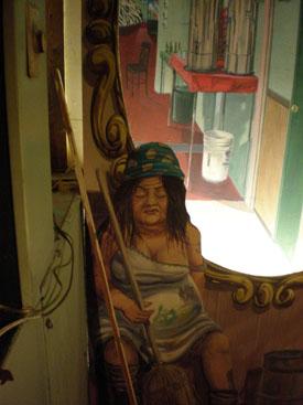 Sleeping on the job - trompe l'oiel mural Showtown