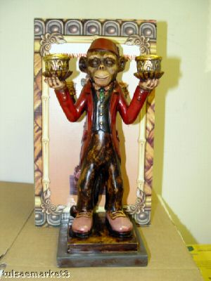 Circus Monkey Organ Grinder Candelabra