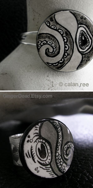 octopus illustrated jewelry by calan ree