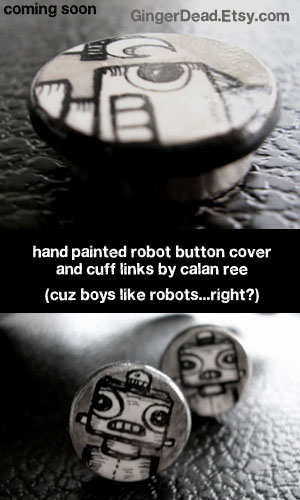 robot illustrated jewelry by calan ree