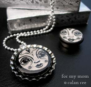 moon illustrated face jewelry by calan ree