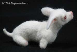 lapdog needle felted sculpture by Stephanie Metz