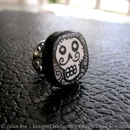 Skeleton with Mustache - Illustrated Jewelry - Tie Tack / Lapel Pin -
