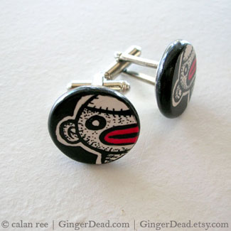 sock monkey zombie cuff links by calan ree