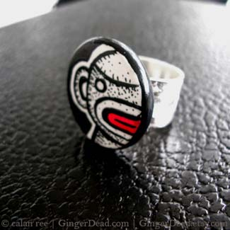 sock monkey zombie ring by Calan Ree