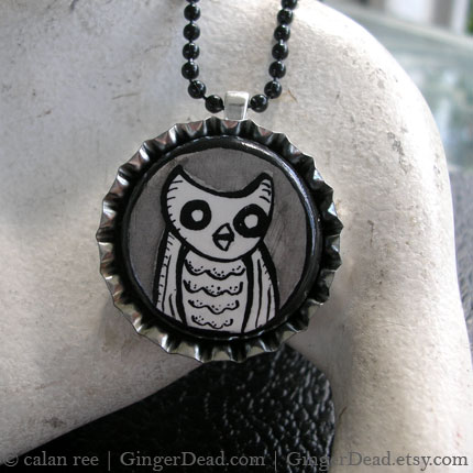 Owl Pendant Necklace - Illustrated Jewelry by Calan Ree