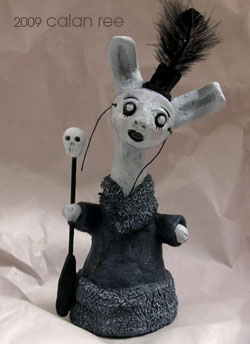 masked rabbit figurine by calan ree