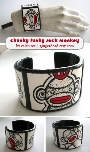 Sock Monkey Cuff Bracelet by Calan Ree